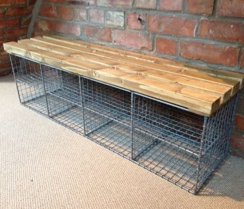 Genial A Creative And Practical Though Simple Bench With 8 Open Storage Cubbies. A  Top Is Handmade Of Thick Scrap Lumber Finished In Light Brown And Longwise  ...