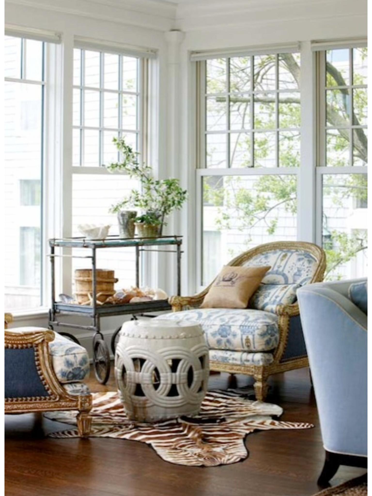 Blue And White Garden Stool