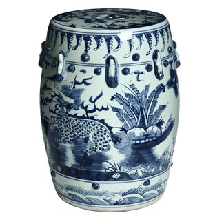 Blue and white kylin chinese porcelain stool china