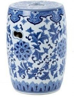 Dalian blue and white chinese ceramic stool by artisanti