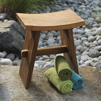 Editor favorite handmade teak bath stool created from sustainable teak