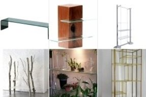 Free standing glass shelves