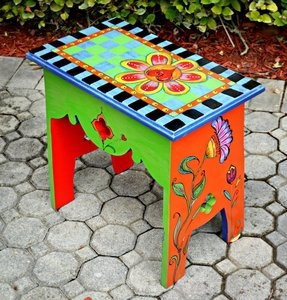 Funky painted bench 1