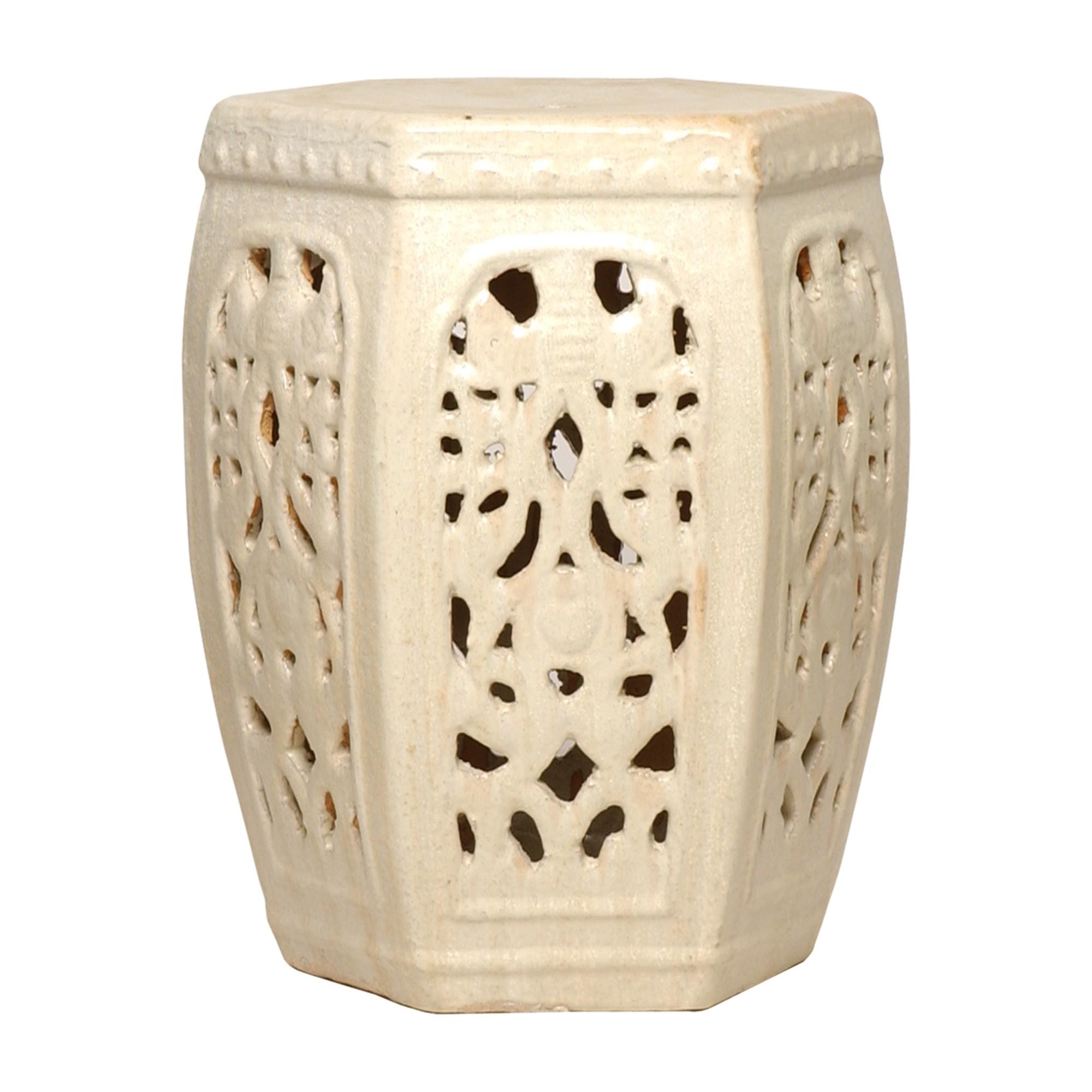 Superb Hexagon Ceramic Asian Garden Stool