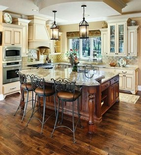 Ivory and black kitchen