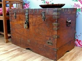 Leather storage trunks and chests