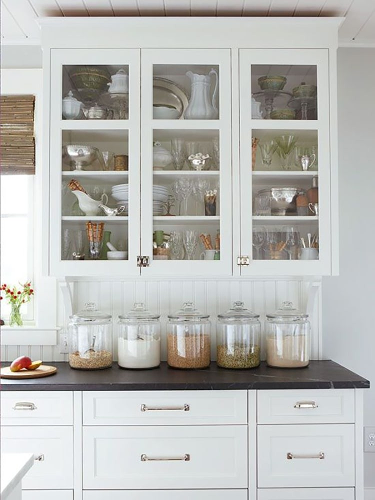 Love This Look White Cabinets With Glass Doors And White