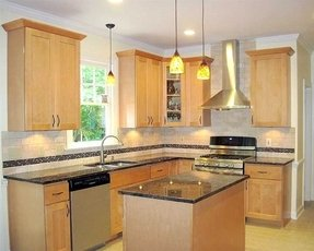 Natural birch kitchen cabinets
