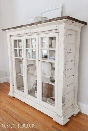 shabby chic kitchen cabinet rustic china hutch foter 5144