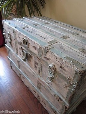 Shabby seashore beachy chic weathered chest trunk annie sloan chalk