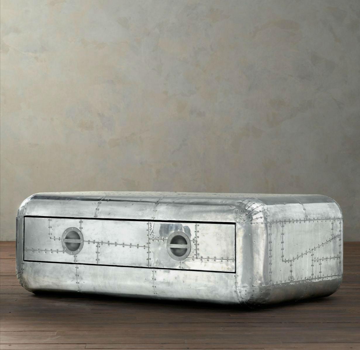 Vintage Aviator Coffee Table Aluminum Trunk Handmade