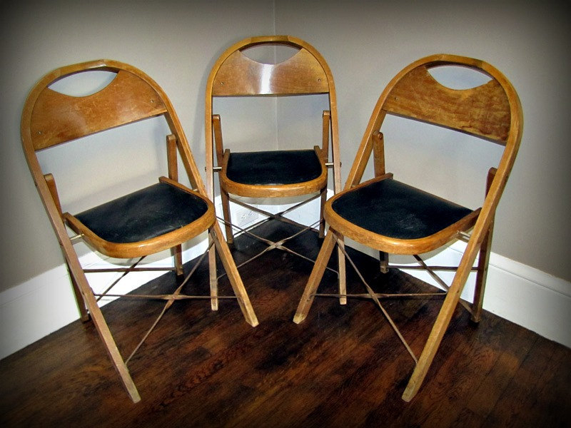 Vintage Stakmore Folding Chairs Black 1
