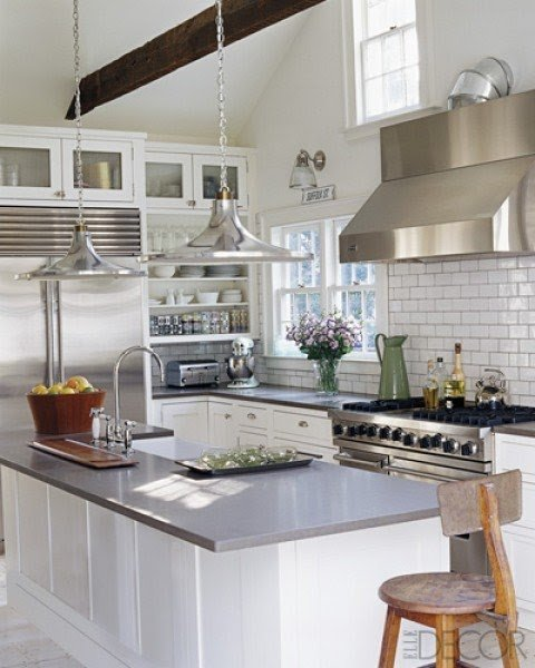 Merveilleux White Kitchen Island With Stainless Steel Top