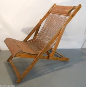 Antique 1940s japanese bamboo wood folding deck chair ship steamer