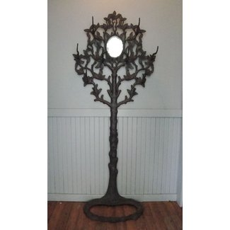 Antique cast iron faux bois hall tree