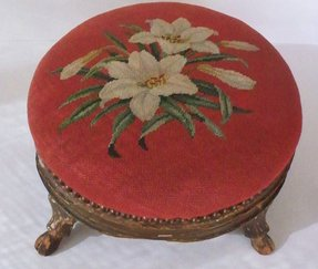 Antique footstool needlepoint lily