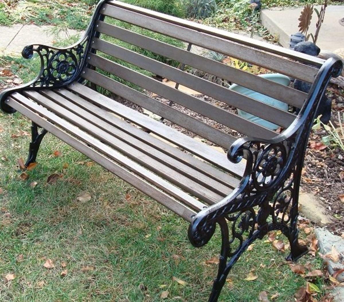 Antique Iron Garden Bench