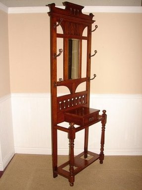 Antique oak hall tree coat rack umbrella stand