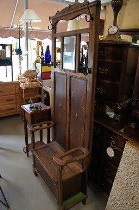 Antique Victorian Hall Tree Original Mirror Umbrella Stand Coat Rack