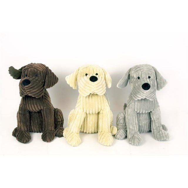Beau Beige Soft Cord Ribbed Cute Dog Door Stop Doggy Fabric Doorstop 28cm