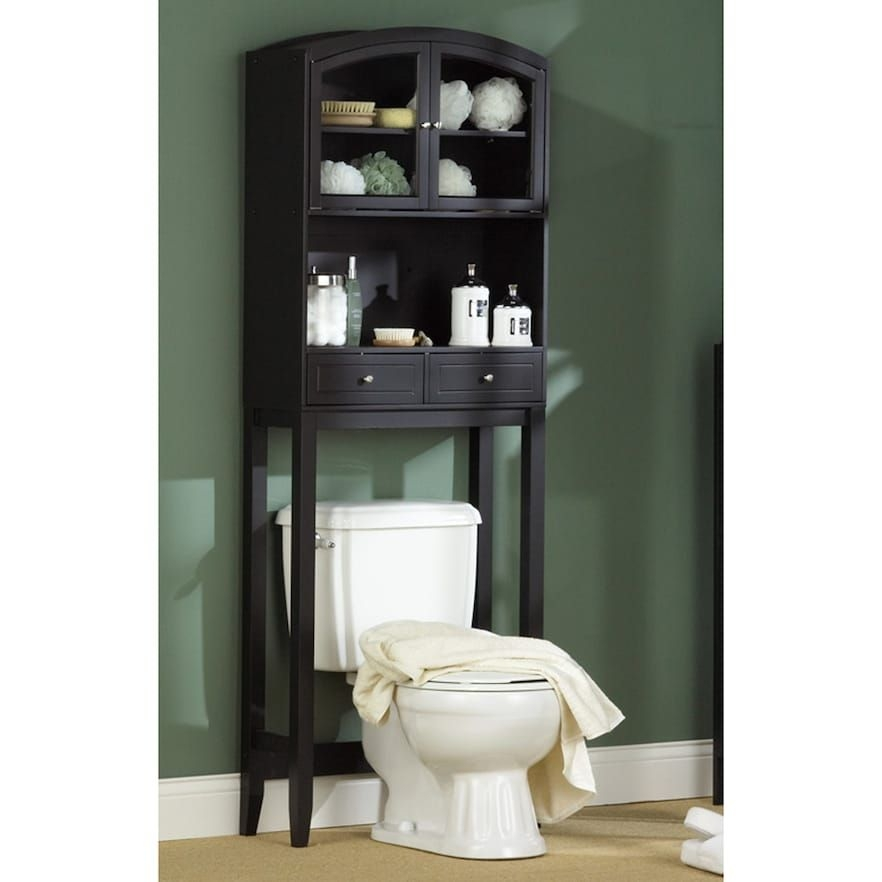 Black Bathroom Space Saver Over Toilet