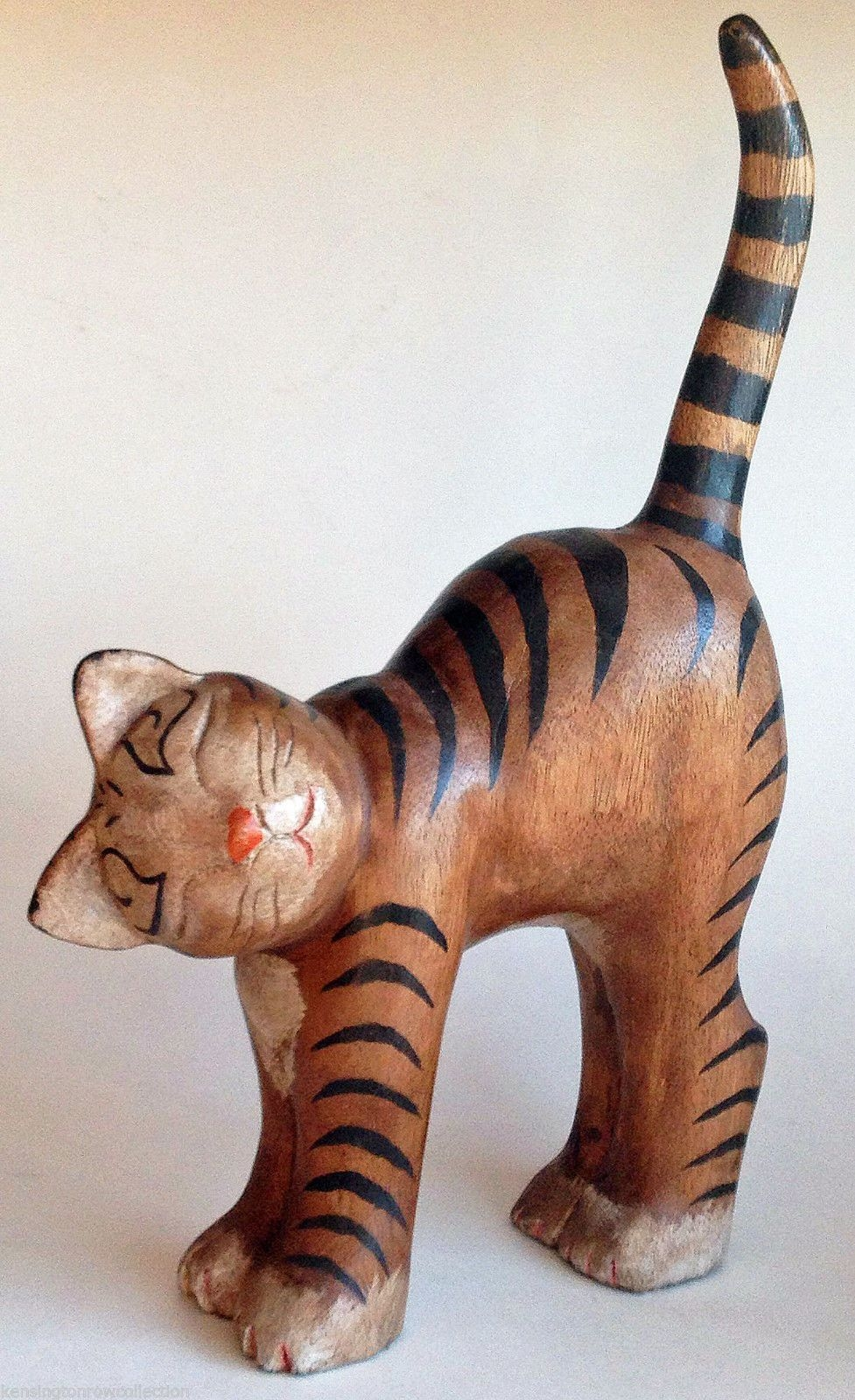 Cats - Stretching Cat Wood Carving - Wooden Cat Figurine - Cat Sculpture - Cat Door & Cat Door Stop - Foter