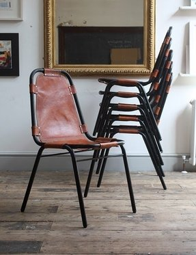 Charlotte perriand leather and enameled metal les arcs stacking chairs