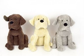 Chocolate Brown Soft Cord Ribbed Cute Dog Door Stop Doggy Fabric Doorstop 28cm