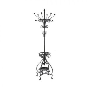 Antique Victorian Tall Coat Rack Umbrella Stand Iron W Porcelain Ball Ends Heavy
