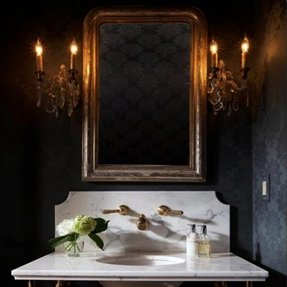 Thin Wood Frame Bathroom Mirror
