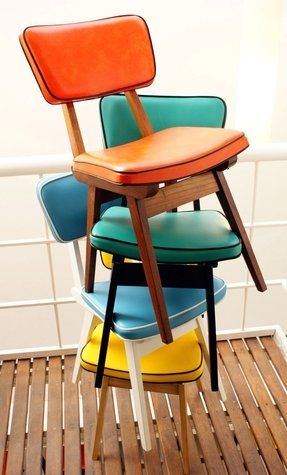 Leather stacking chairs 1