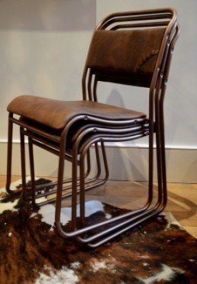 Leather stacking chairs 2