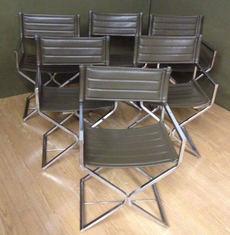 Mid Century Modern Virtue Brothers Chrome Leather Director Chairs Set