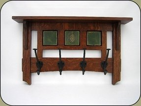 Oak coat rack with inlaid tiles
