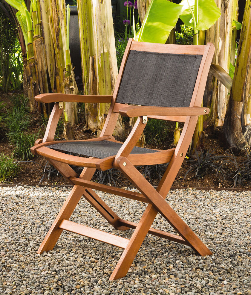 Outdoor Folding Chairs Wooden Frames Hardwood Chairs Fabric Seats Patio