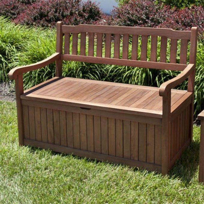 Outdoor Teak Storage Bench 1