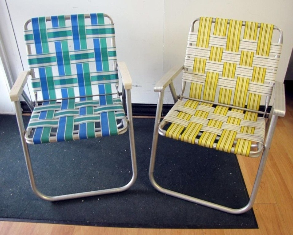 Pair Retro Vtg Vintage Folding Aluminum Lawn Chair Webbed Web