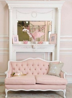 Pink Couches Elegant Loveseat In The French Style Frame Is Made Of Wood It Upholstered With Soft Fabric And Finished Decorative Quilting On