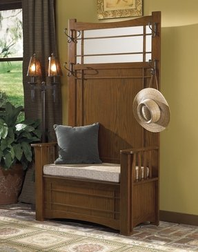 Powell furniture mission oak hall tree with storage bench 3