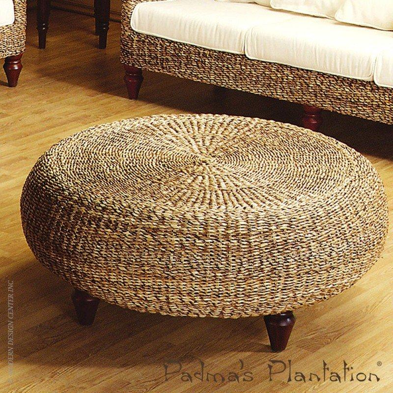 Rattan Round Ottoman Foter Gorgeous How To Make A Round Pouf Ottoman