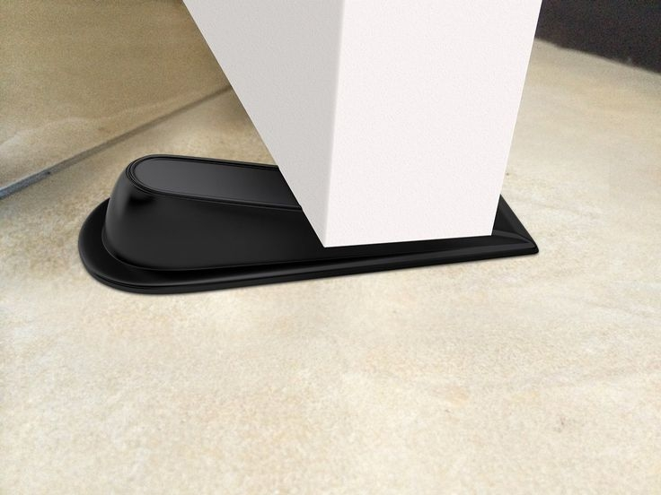 4 Pack 2 Large and 2 Small Door Wedges for CARPET Surface Black Plastic