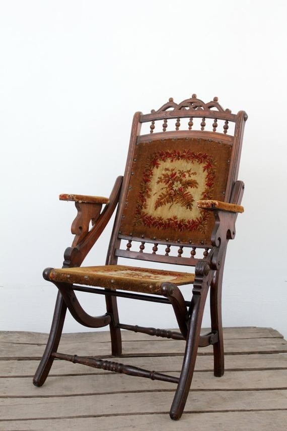 Victorian folding tapestry chair
