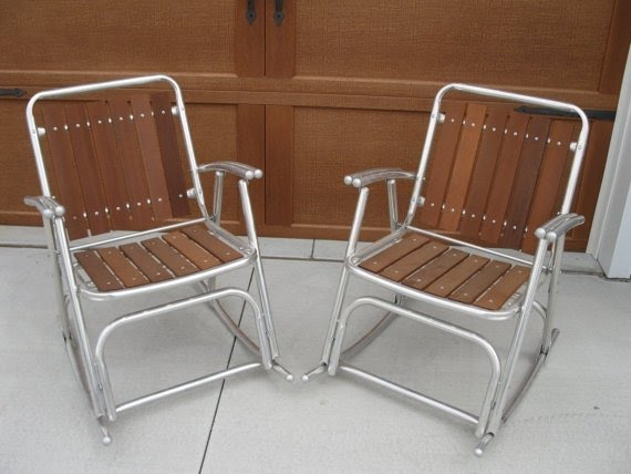 Vintage wood and aluminum rocking chair