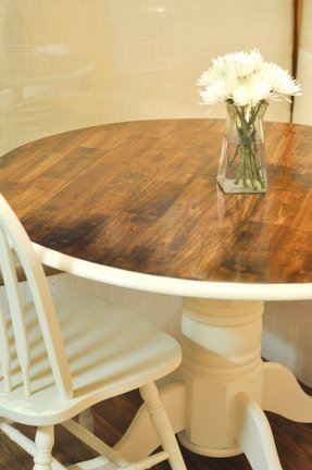 White and oak kitchen table