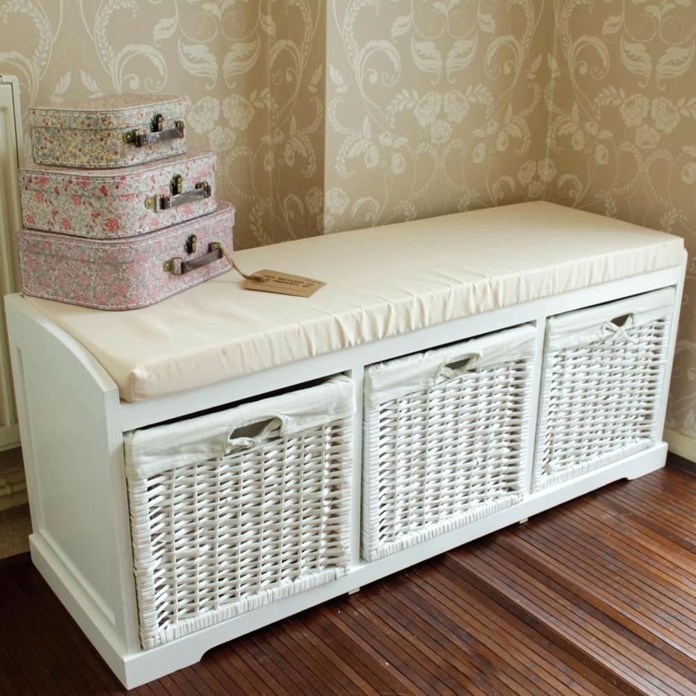 Genial White Wicker Storage Bench