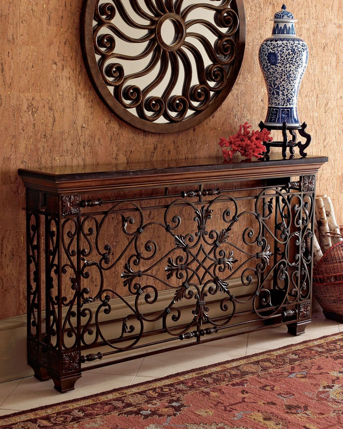 Attractive Wrought Iron Foyer Table
