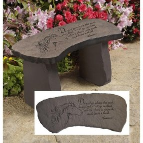 "15"" Leave a Trail Cast Stone Memorial Garden Bench"