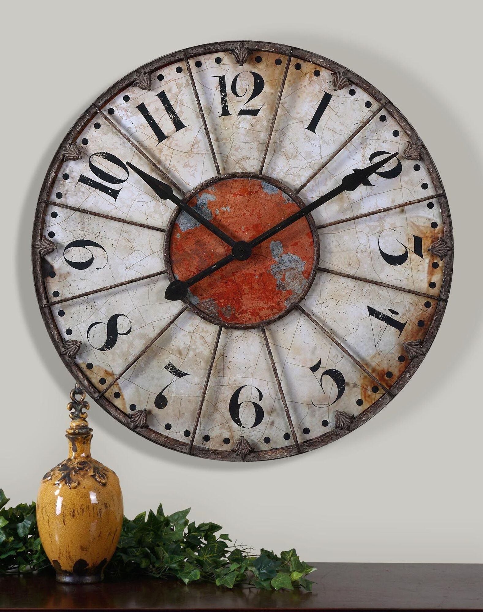 29 antiqued ivory and red round wall clock rustic southwestern