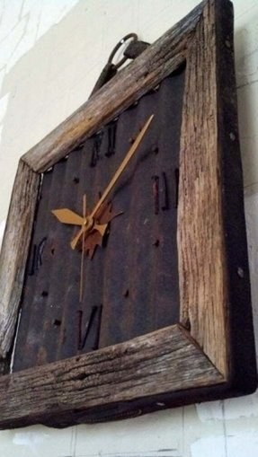 Barn wood clock with rusted roof metal