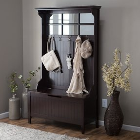 Belham Living Richland Hall Tree in Espresso Has Five Double Hooks Are the Perfect Place to Hang Coats, Hats, and Scarves, While the Lift Top Storage Bench Stores Blankets, Throws, and Pillows. Use in a Mudroom or Entryway. Mirrored and Beaded Detail